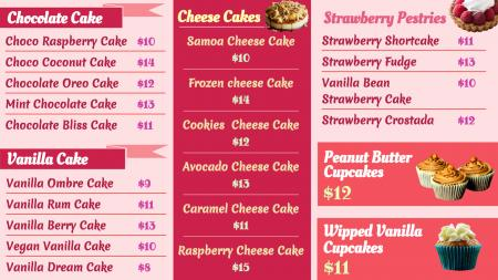 Cake Pastry Sample Menu Design