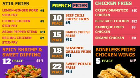 Fries Menu Board for Restaurant