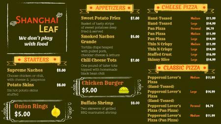 Sample Menu Board Design for Restaurant