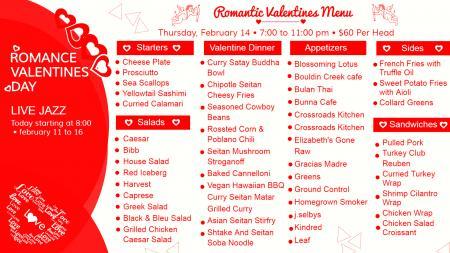 Valentine Spacial Menu board