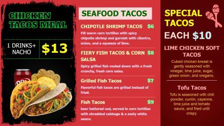 Tacos Menu Board