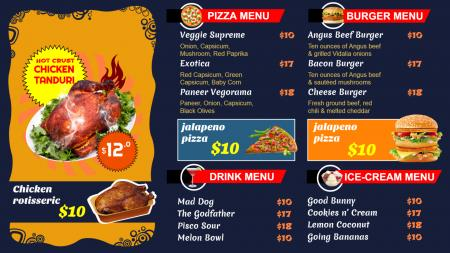 Food Menu for Digital Display