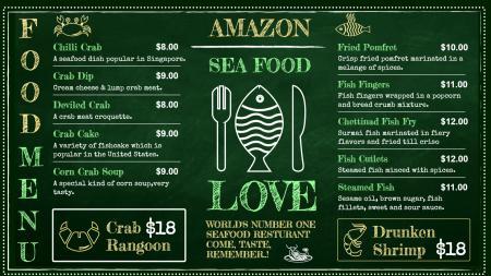 Seafood Menu Chalkboard Style