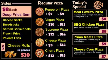 Pizza Menu Board