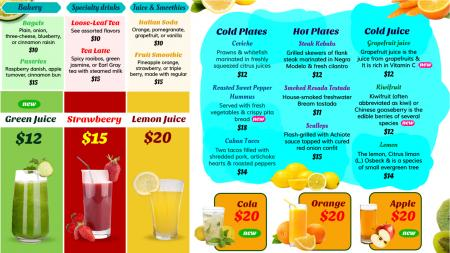 Juice Menu Board