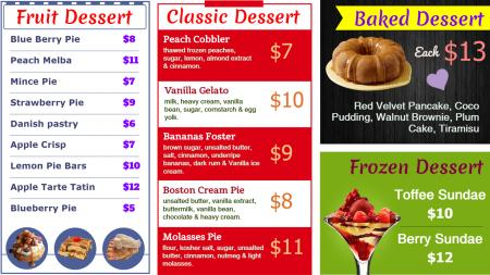 Dessert Menu Graphics