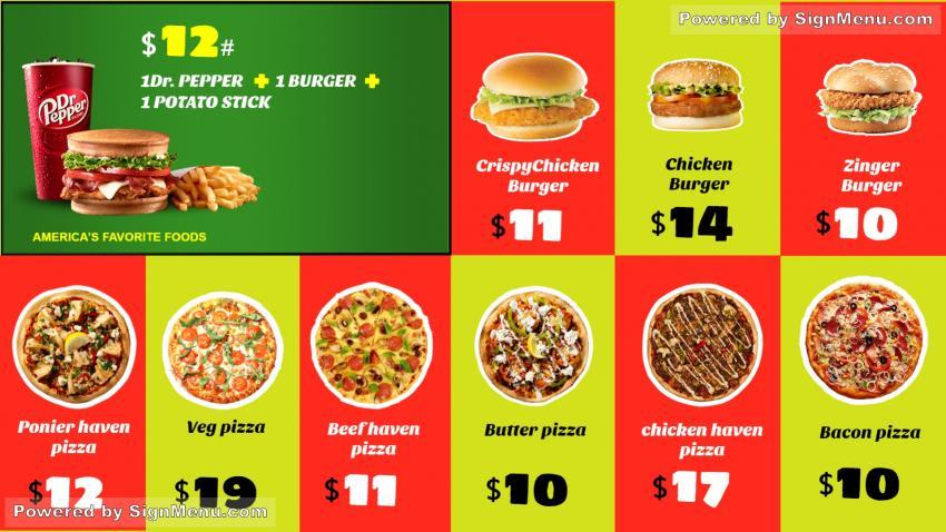 Signmenu Digital Signage Template Menu Board Of A Pizza Restaurant