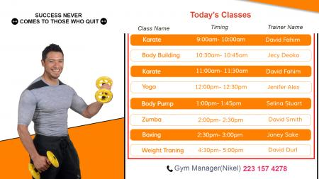 Digital signage template for Gym