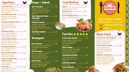 Crab Food Menu