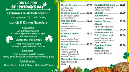 St : Patrickes Day Special Food menu