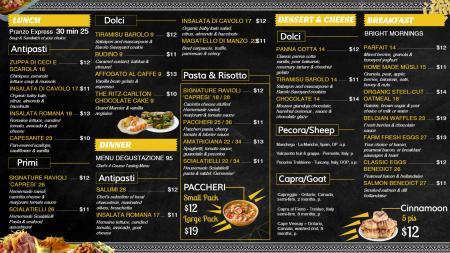 Italian Senacolando menu