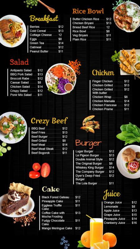Vertical restaurant menu