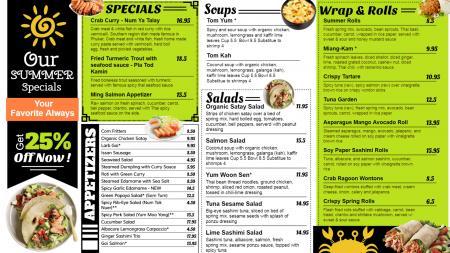 Summer special menu