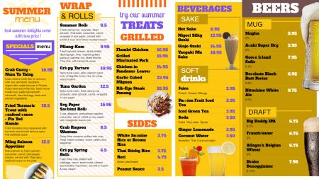 Yellow summer special menu