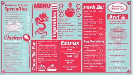 An American Chinese Food Menu Board