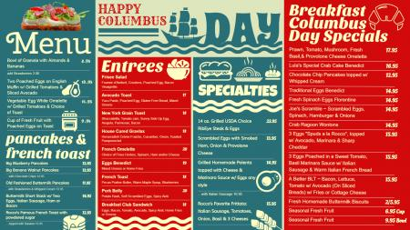 Columbus Day Menu Board