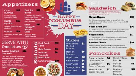Columbus Day Signage Menu