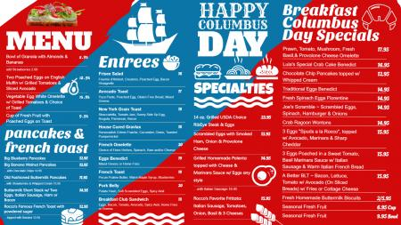 Columbus Day Digital signage menu board