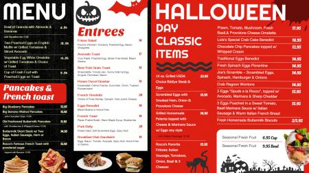 Halloween menu board
