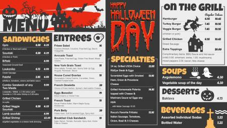 Halloween menu board for digital signage