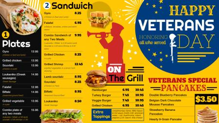 Digital signage menu for Veterans-day