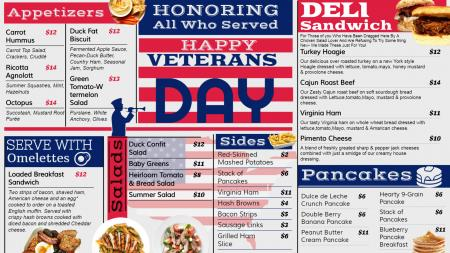 Veterans day menu design idea