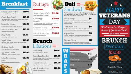 White Veterans day menu design