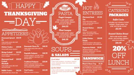 Thanksgiving day signage menu template