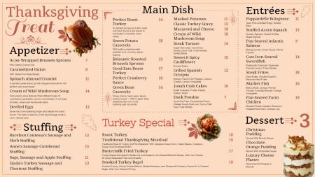 Soft color thanksgiving day signage menu