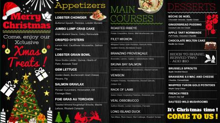 Black Merry Christmas menu design