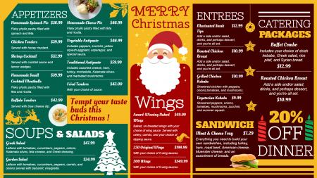 Merry Christmas signage menu