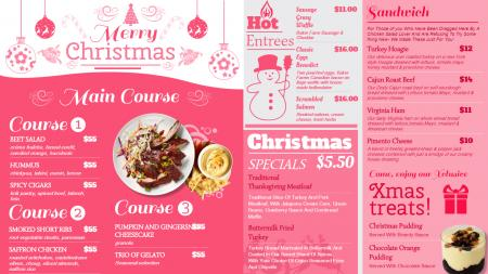 Christmas restaurant food menu