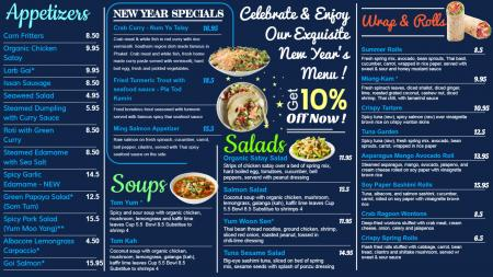 New Year menu Board for digital signage
