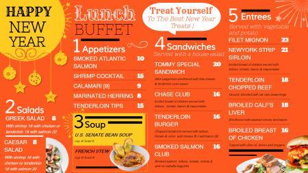 New Year menu Board for restaurants