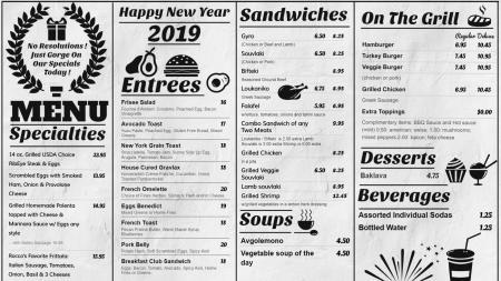 New year digital signage menu