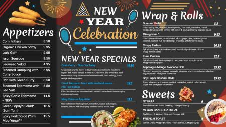 Black New Year signage menu