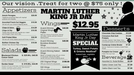 Martin Luther King Day Vintage Menu