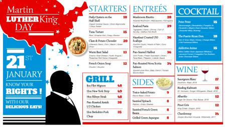 Multicolor Martin Luther King Day Menu