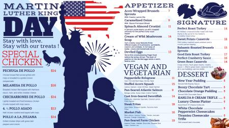 Clean Martin Luther King Day Menu