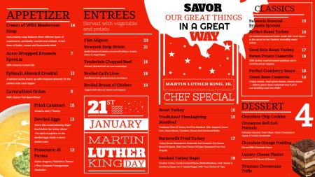 Red Martin Luther King Day Menu