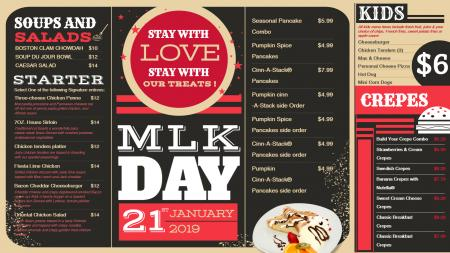 Vintage Martin Luther King Day Menu