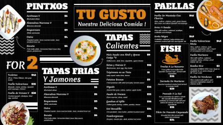Black Spanish Signage Menu