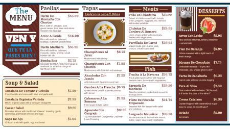 Spanish signage menu