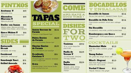 Tapas Special menu