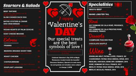 Valentines day signage menu