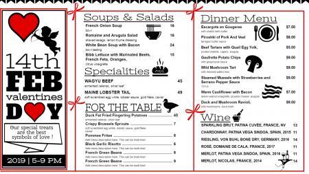 White valentines day menu