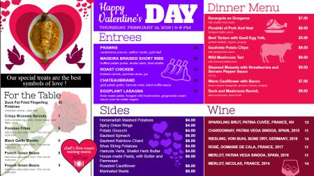 Multi color valentines day signage menu