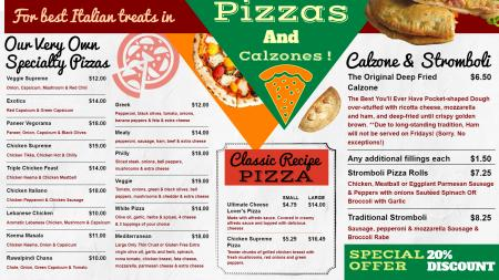 Signage Pizza menu