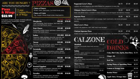 Chalk Pizza signage menu