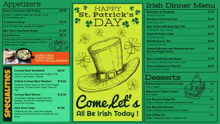 Green St. Patrick's Day Menu Design
